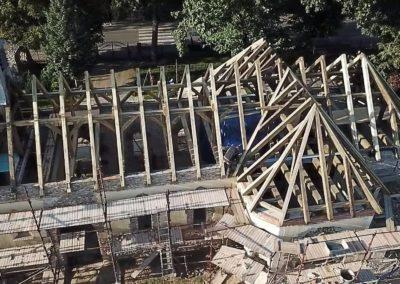 Rzut na prefabrykowane wiązary dachowe.